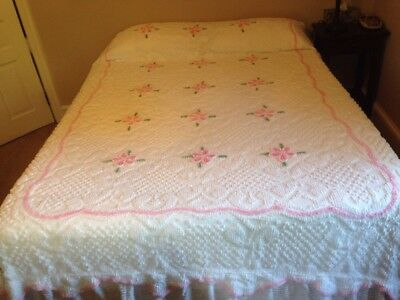 Vintage 50's Chenille Bedspread Double pink & white floral lightweight cotton