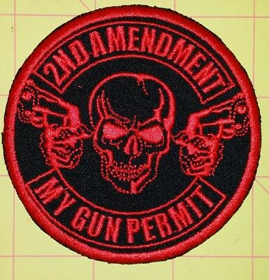 2Nd Amendment My Gun Permit Motorcycle Biker Embroidered Vest Patch Iron On Red