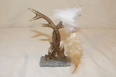 Deer Antler Statue Figurine Beads Feathers Decor Dream Catcher Style 3.5""