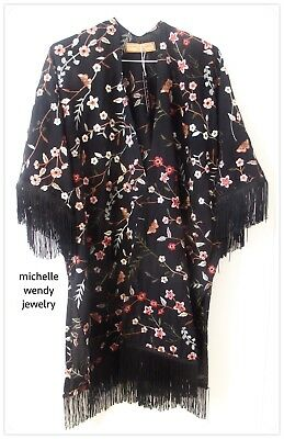 HOT GORGEOUS EMBROIDERED FLORAL FRINGED KIMONO Kaftan JACKET FALL FASHION TREND