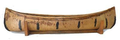 "Vintage Model Of Eastern Woodland  Birch Bark Canoe - 31 3/8"" Long - Vg Cond."