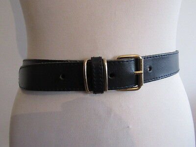 Vintage 80's Salisburys Slim Navy Leather Belt Brass Effect Buckle & Belt Loops