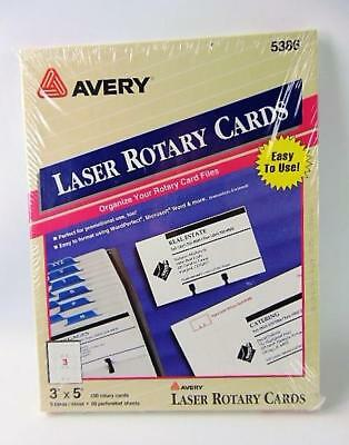Avery 3 by 5 Inch Rotary Cards 5386 Sealed Box 150 Cards 3 to Sheet 50 Sheets