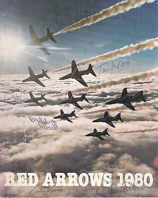 Red Arrows Programme 1980 with nine signatures of the pilots and crew