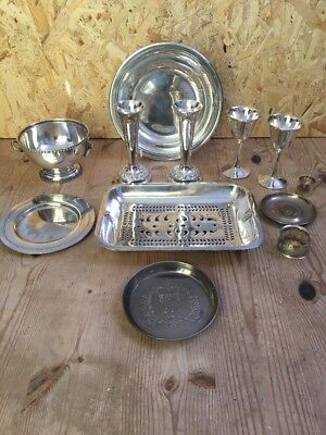 Job Lot (12 Items) Silver Plate - Plates, Trays, Vases, Goblets