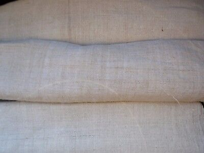 Antique 3 pices medium Heavy Hemp Fabric Canvas 19thC total 6,1m Great condition