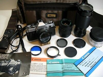 Canon AE-1 35mm SLR Film Camera with additional Lenses, Filters, Case and more!