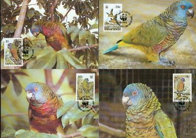 Saint Lucia 1987 set on 4 MC MK parrot Papagei WWF eh44
