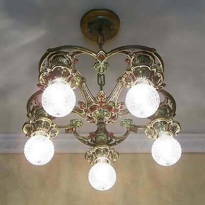 227b Vintage10s 20s Ceiling Light lamp fixture polychrome chandelier art nouveau