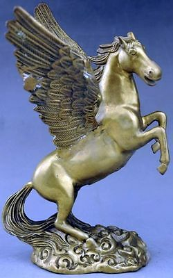 Rare Antique Copper Statue of Chinese Mythological Flying Winged Horse Pegasus