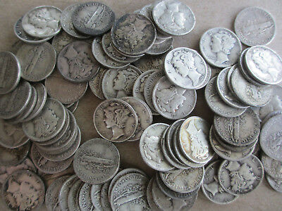 100 Mercury Silver Dimes Circulated 1931-1945