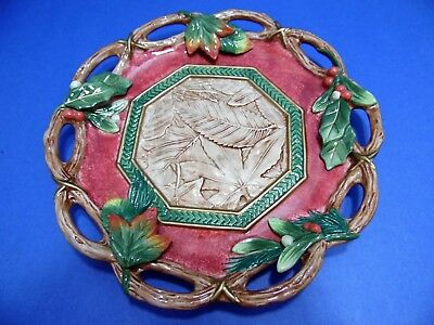 """Fitz & Floyd Christmas Lodge Canape Plate Fall Holly Leaves Berries 10 5/8"""" EUC"""
