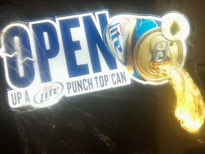 Miller Lite Punch Top OPEN Lighted Beer Sign - Bar / Mancave