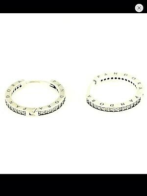 Genuine PANDORA Silver Pave Hoop Signature Earrings - 290558CZ Free Pouch