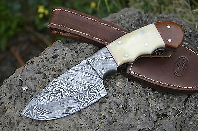 "Huntex Handmade Damascus 8.2"" Long Camel BoneDrop Point Hunting Knife"