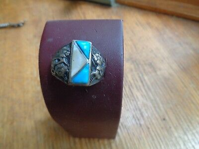 Vintage Man's  Turquois and Silver ring Decorative FG