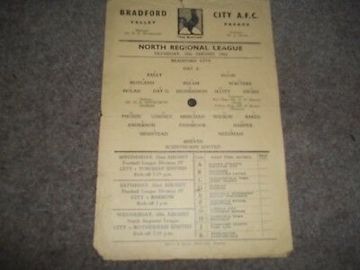 Bradford City V Scunthorpe United Reserves North Regional League 18Th Aug 1962