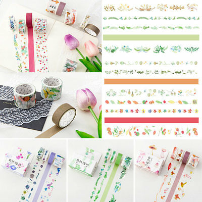 4 Rolls Floral Washi Tape Adhesive Masking Paper Sticker DIY Decor + Gift Box