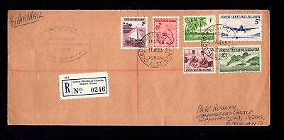 Cocos (Keeling) Islands - 1963 Registered Cover to England with 6 stamps (J-X)