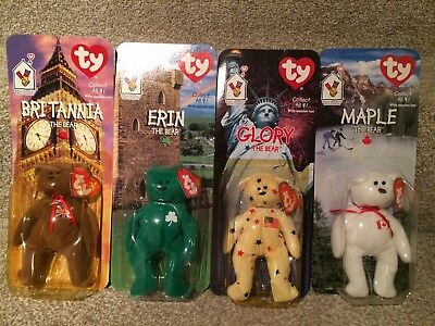 McDonalds TY Teenie Beanie Babies - Britannia, Erin, Glory & Maple Bears