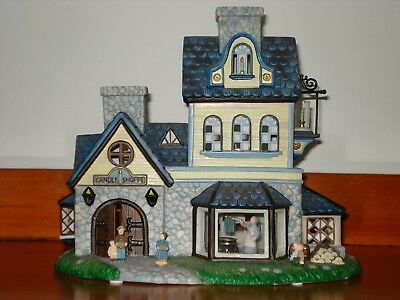 PartyLite Olde World Village Candle Shoppe Tealight House w/CandleDelivery Wagon