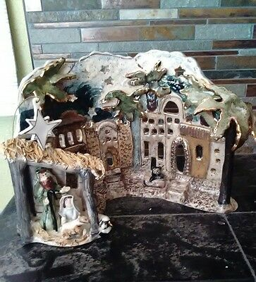 Blue Sky Clayworks Heather Goldminc Retired O Holy Night Nativity Tea Light