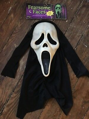 TAGGED Fearsome Faces Fun World Div Scream GhostFace Halloween Mask Collectible
