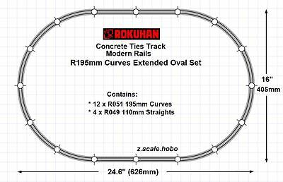 Rokuhan R195mm Z Scale Starter Extended Oval Track Pack Set *NEW $0 SHIPconcrete