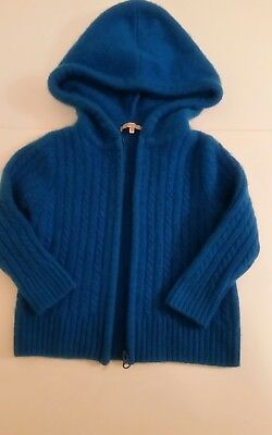 Bypac baby luxury cashmere sweater hooded zipped blue 6-9 months