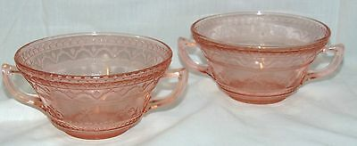 """2 Federal PATRICIAN PINK *4 3/4"""" CREAM SOUP BOWLS*"""