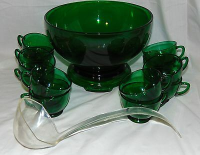 Hocking FOREST GREEN *13 pc PUNCH BOWL SET w/BASE & LADLE*