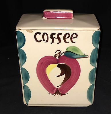 "Purinton APPLE * 7"" COFFEE* SQUARE CANISTER w/LID*"