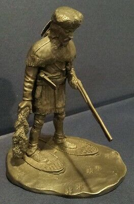 Franklin Mint pewter statue . the Fur Trader . Caldwell . 1976