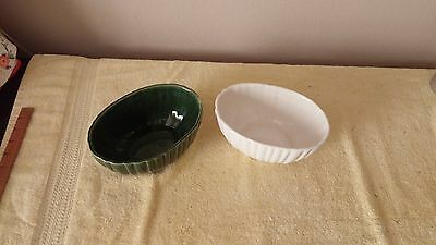 Vintage Mid Century 2 Haeger #4020 Oval Planter  Made in USA. Green - White