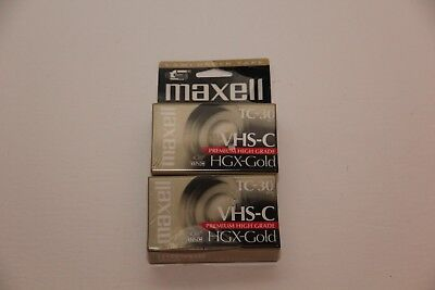 Maxell TC-30 VHS-C Premium High Grade HGX-Gold Video Tape Lot of 2