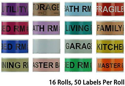 800 Home Moving Labels - Colored Label Supplies for Boxes Packing & Box Stick...