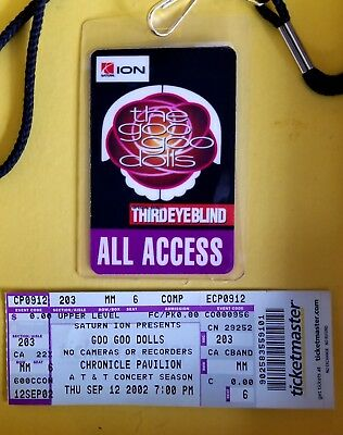Goo Goo Dolls  Third Eye Blind 2002 Concert Laminated All Access Pass and Ticket