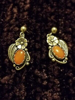 Gorgeous Sterling  Navajo Indian Sterling Signed WB Earrings Wilber Benally