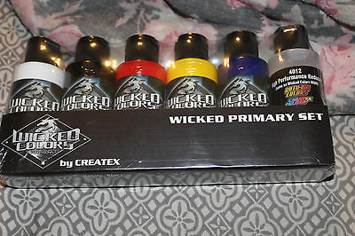 NEW 6 Createx Wicked Color Primary Airbrush Paint Hobby Craft Art 2oz Bottle Set