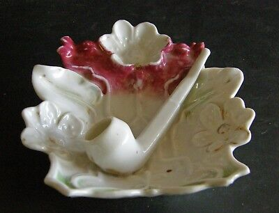 Antique Austria Porcelain Pipe Rest With Ceramic Pipe Match Holder Leaf & Flower