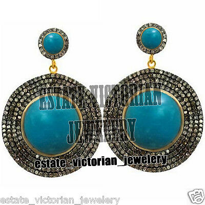 Vintage 6.02Cts Rose Cut Diamond Turquoise Sterling Silver Jewelry DICS Earring