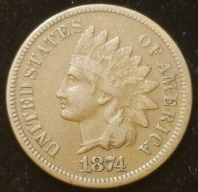 1874 Indian Head Cent Penny Nice Coin For Your Collection Free Shipping B-F