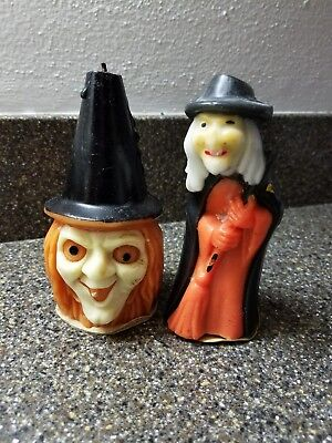 Vintage Lot Gurley Halloween Candle Scary Witch, Witch with Broom & Hat Candles
