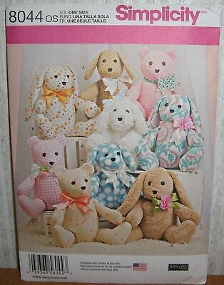 Crafts Hobbies Stuffed Animals Bears Bunny + Sewing Pattern/Simplicity 8044/UCN