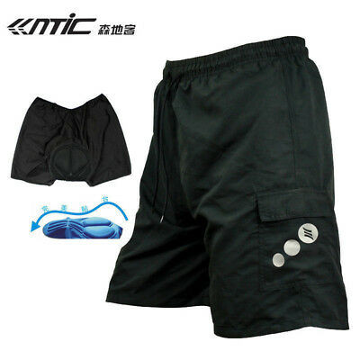 SANTIC Mens Padded Baggy Cycling Shorts Casual Bike Bicycle Short Pants Black