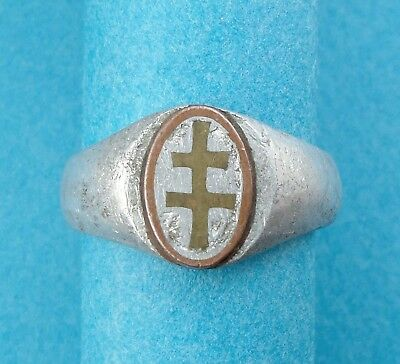 """WWI Trench Art - 79th Infantry Division, Ring. """"Cross Of Lorraine"""". 1914 - 1918."""