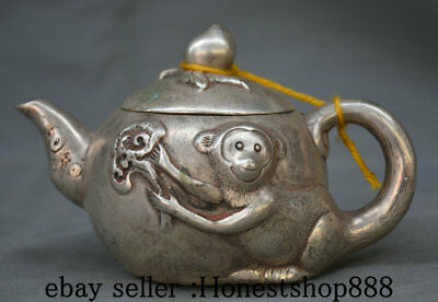 """6"""" Marked Old China Silver Dynasty Monkey Handle Peach Teapot Teakettle Pot"""