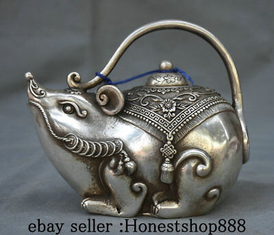 """6.4"""" Marked Old China Silver Dynasty Palace Mouse Rat Flower Teapot Wine Pot"""