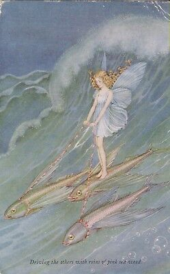 Used 1931 Ida Outhwaite PPC of Elves & Fairies, Fish, Pink sea weed