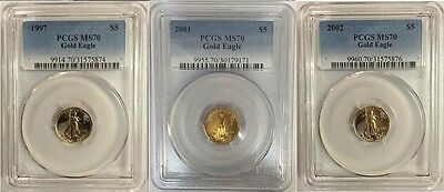 1997 2001 2002 $5 Gold Eagle Pcgs Ms70  3 Coin Set